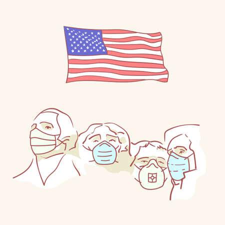 USA founding fathers flag hand drawn style vector virus corona mask
