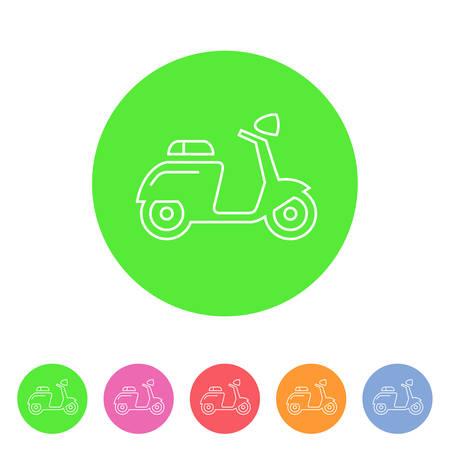 Scooter motorbike motorcycle icon flat web sign symbol logo label Ilustracja