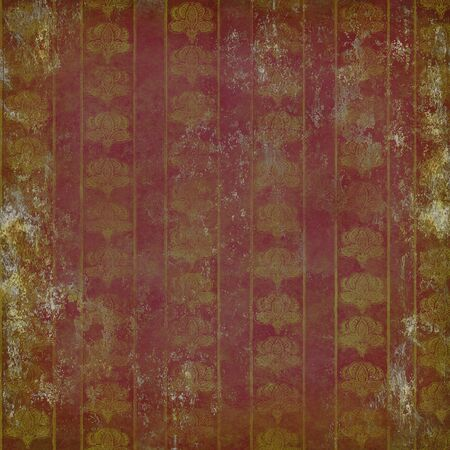 grunge ruined wallpaper with vintage floral pattern gold on purple Stock Photo