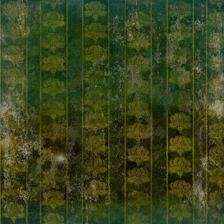 ruined: grunge ruined wallpaper with vintage floral pattern gold on green