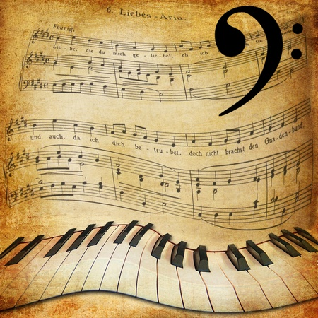 style sheet: Musical sepia background with warped piano and notes Stock Photo