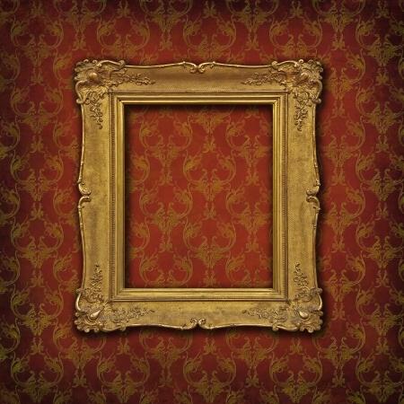 ornated: Empty vintage golden frame on a damask red ornated wallpaper