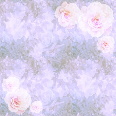 Victorian romantic wallpaper with pink roses, branches and foliage photo