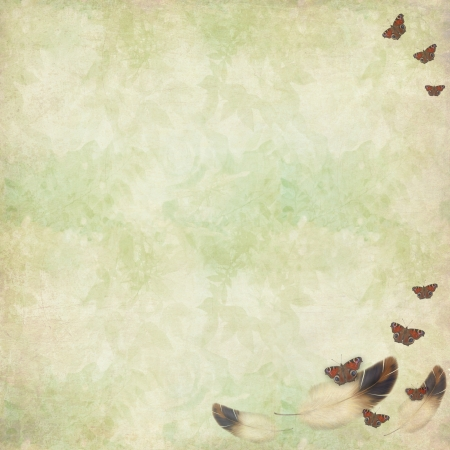 vintage grunge wallpaper with butterflies and feathers swirling around Stock Photo