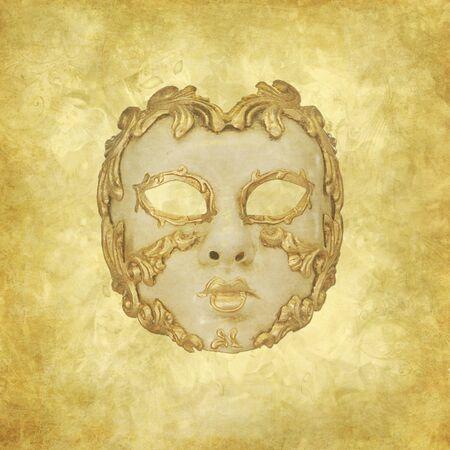 Luxury golden Venetian mask on floral grunge background photo