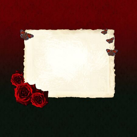 old times: Vintage blank paper with red roses and butterflies