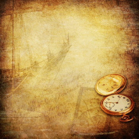stories: wallpaper with sailing ship, a pocket watch, an old photo of a seaman and a open book