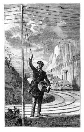 telegraphy: Application of electricity, train driver asking for help with the emergency signal from L