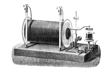 Ruhmkorff inductor, Electrical transformer used to produce high-voltage pulses from a low-voltage direct current, patented in 1851 by Heinrich Ruhmkorff, German inventor Paris - Hachette 1868ngraved by C  Laplante from L