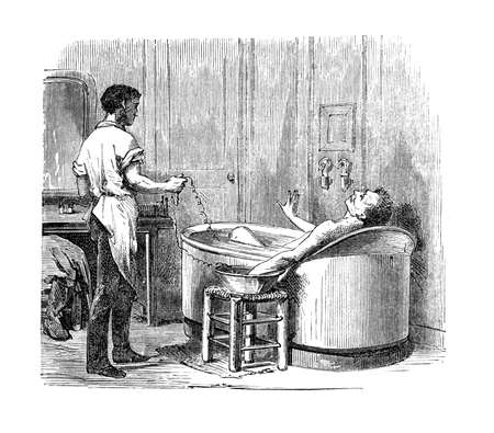 The first electric baths were introducted at the Hopital de la Piti, in Paris by Bequerel  Many users survived and enjoyed the experience, although the physicians of that time were divided against the benefits of this practice Paris - Hachette 1868 Stock Photo