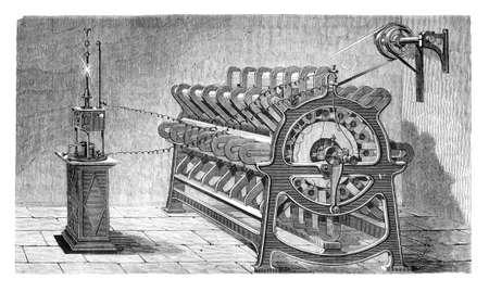 Electricity application  electromagnetic maschine  L ,lectricite, Paris - Hachette 1868 Stock Photo