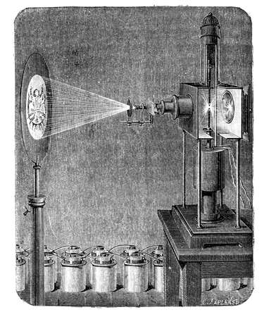 One of the first microscope based on the photoelectric effect, phenomenon in which electrons are emitted from matter after energy absorption from electromagnetic radiation L ,lectricit, Paris - Hachette 1868 Stock Photo - 14329066