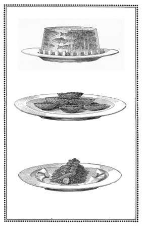 Engravings of fish dishes  aspic of anchovies, deep fried sardines and clams  My elaboration from engravings of  Sueddeutsche Kueche  by Katharina Prato  - Verlagbuchhandlung Styria, 1913, author unidentified  photo