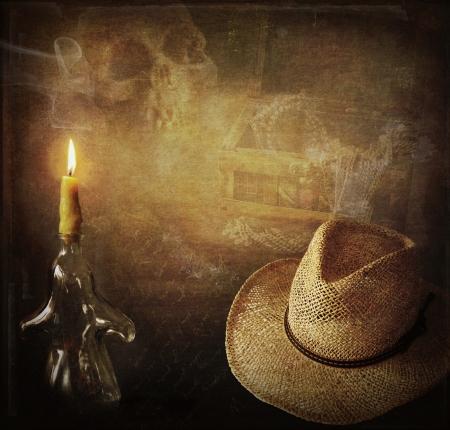 mystery: Grunge background Indiana Jones like, hut, candle, skull and treasure chest Stock Photo