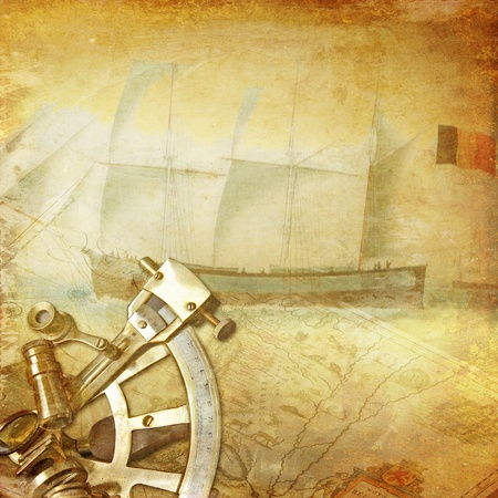 adventure on the sea, vintage wallpaper with sextant,old sailing vessel and map Stock Photo - 18700659