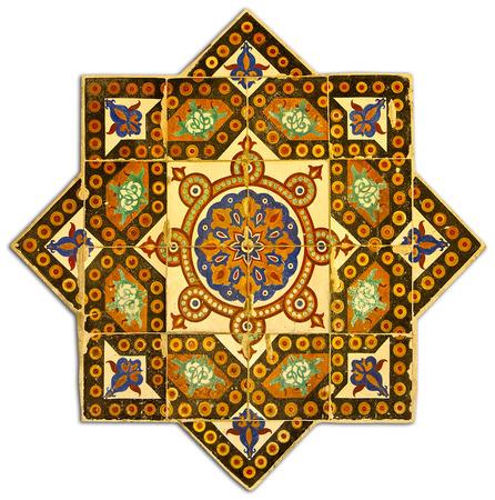 Vintage floral geometrical pattern tiled arabian style