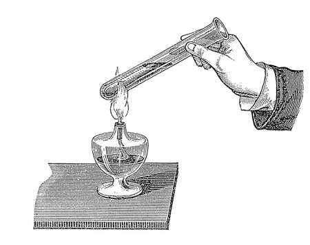 Heating a glass tube with water, the water boils and transforms into gas by vaporization   Stock Photo
