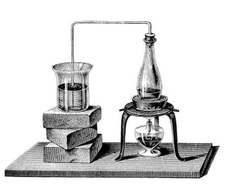 boiling water: The bended glass pipe canalizes vapor from the  boiling water in the closed flask to the receiving glass on the left, causing the water inside to boil too  Stock Photo