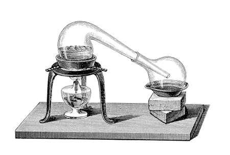 destilacion: Química destilación por alambique, el grabado de un viejo libro de química