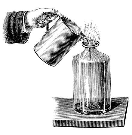 hydrogen: El hidr�geno es boyante en el aire y las llamas de hidr�geno tienden a ascender r�pidamente Foto de archivo
