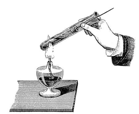 boil: Engraving from an old chemistry book Stock Photo