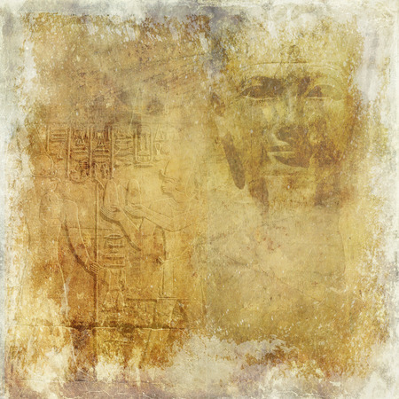 Grunge antique Egytp wallpaper with pharaoh and hieroglyphics photo
