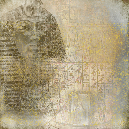 Antique Egytp wallpaper with pharaoh and hieroglyphics photo