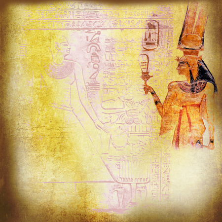 Grunge yellow Egypt with queen Nefertiti and hieroglyphics photo