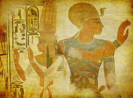 queen: grunge texture with antique egypt symbols, queen Nefertiti and a pharaoh