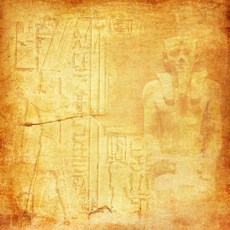 Antique Egytp with pharaoh and hieroglyphics Stock Photo
