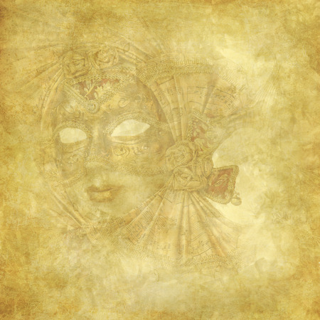 Golden grunge and floral background  with antique Venetian Mask photo