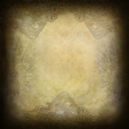 Venetian masks art-deco frame and grunge background Stock Photo - 29867714