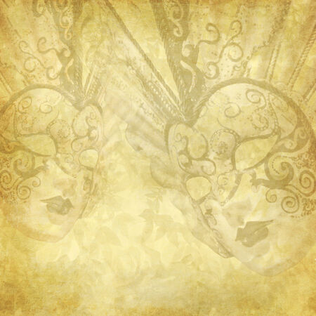 masked ball: Golden vintage background with Venetian masks and floral elements Stock Photo