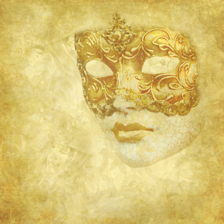 Golden grunge and floral background  with antique Venetian Mask Stock Photo