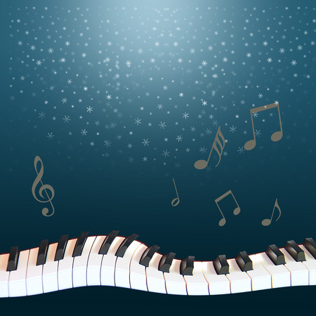 a musical winter night  snow fallen from the dark blue sky, a warped piano and notes soaring