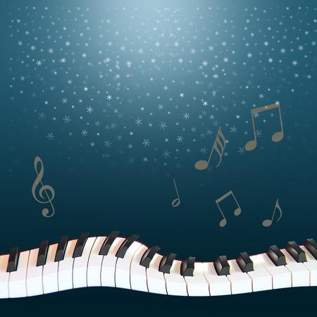 note musicali: un musical notte d'inverno la neve caduta dal cielo blu scuro, un piano deformato e note svettanti Archivio Fotografico