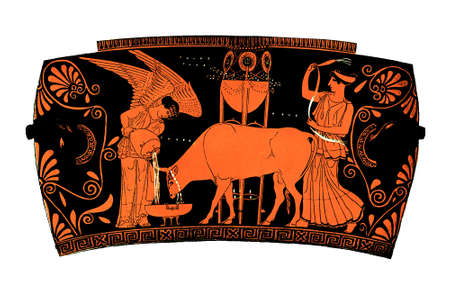 priestess: Antique greek terra-cotta vase theme: democracy. People is ironically rapresented by an ox, a winged goddess gives it water while another goddess (or owner) is lashing it.Isolated on white.
