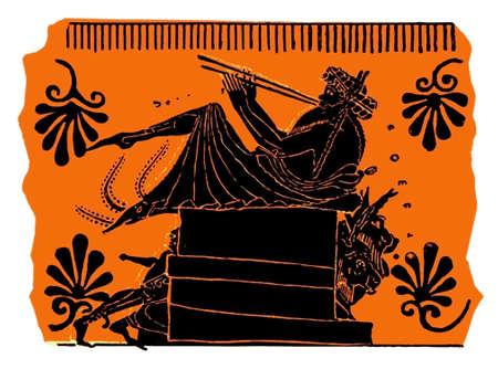 anatolian: Flute player, painting on antique Greek vase, isolated on white