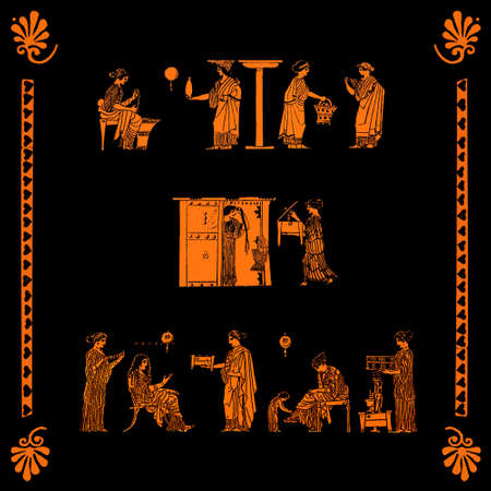 terracotta: Women busy witht domestic chores and activities at home, collage from antique greek vase pictures