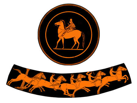 terracotta plate with  rider and ancient greek vase  with  boys riding horses, isolated on white