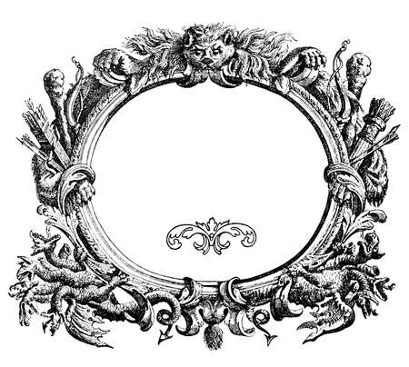 Renaissance ornamental frame with wild beast,arch, arrows and Hydra heads