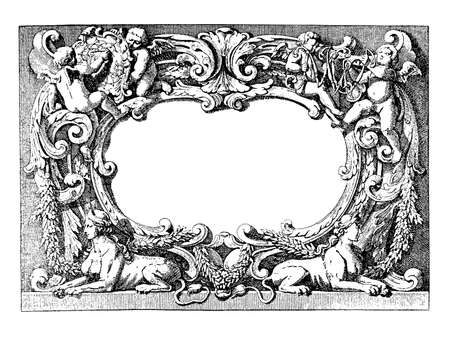 Renaissance ornamental frame with angels, emblems, sphinxes and wreaths isolated on white photo