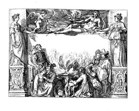 allegoric: Renaissance allegoric frame with mythological godesses, angel and  people
