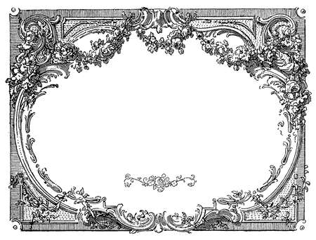 Floral Renaissance ornamental frame isolated on white
