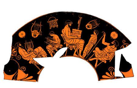 Antigua vasija griega que representa una lección de la escuela de música