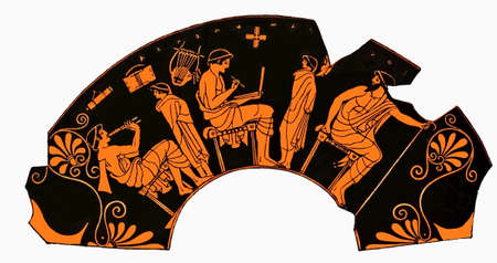 Antigua vasija griega que representa una lección de la escuela con los alumnos que toca la flauta y writng estudiante en una tableta