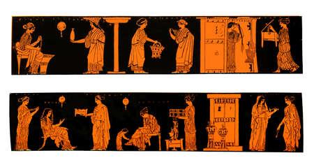 greek pot: Vasi greci antichi raffiguranti la vita e lo stile di vita delle donne greche in casa, isolato su bianco Archivio Fotografico