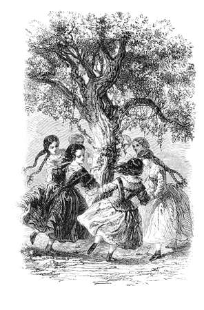 circling: Outdoor games: circling around a tree Stock Photo