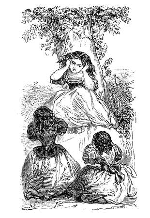 mimic: Girls game in the garden Stock Photo