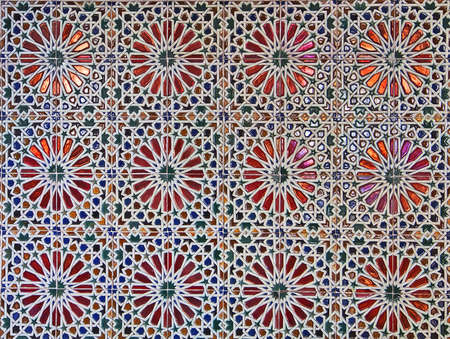 Pattern of ancient Italian ceramics tiles with glazed surface. photo